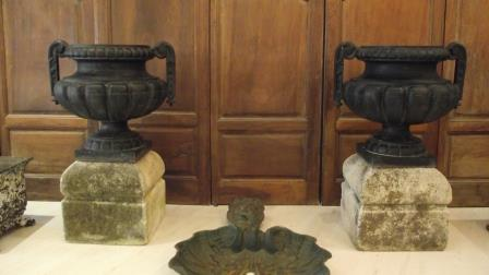 Pair of godrons vases on stone base